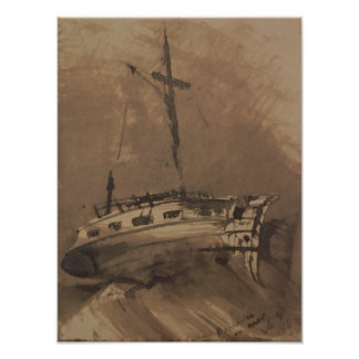 A Ship in Choppy Seas, 1864 Poster