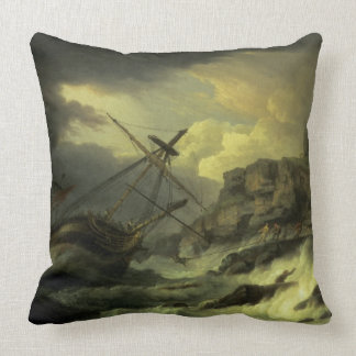 A Shipwreck, said to be `The Dutton' Throw Pillow