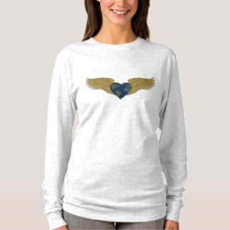 A shirt bearing the earth in a heart with wings
