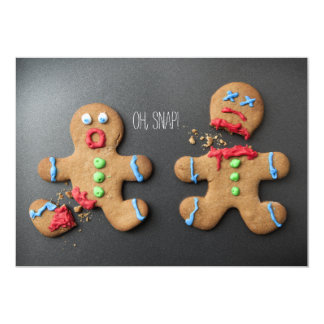 A shocked gingerbread man with broken leg 5x7 paper invitation card