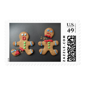 A shocked gingerbread man with broken leg postage