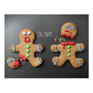 A shocked gingerbread man with broken leg postcard