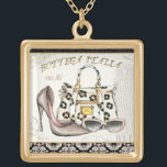 """A Shoe, A Bag, and A Pair of Glasses Gold Finish Necklace<br><div class=""""desc"""">&#169; Andrea Laliberte / Wild Apple.  This image is perfect for fashionistas - it has a little of everything. You&#39;ve got a shoe,  fashionable sunglasses,  and a gorgeous bag.</div>"""