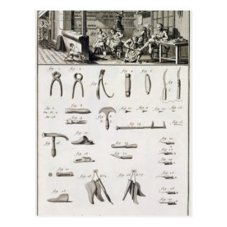 A shoe and bootmaker and their tools, from the 'En Post Card