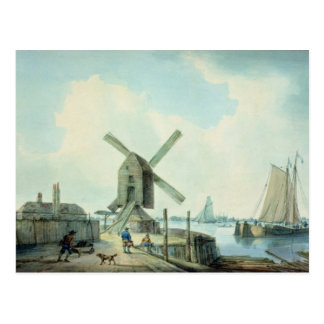 A Shore Scene with Windmills and Shipping Postcard