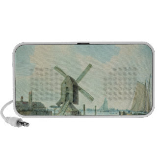 A Shore Scene with Windmills and Shipping Travelling Speaker