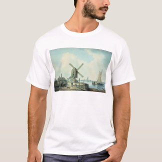 A Shore Scene with Windmills and Shipping T-Shirt