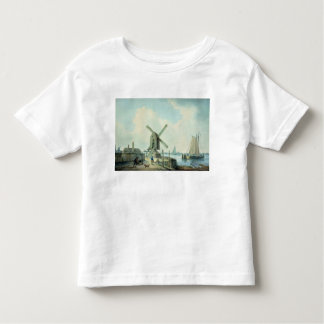 A Shore Scene with Windmills and Shipping Toddler T-shirt
