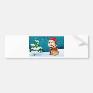 A short Santa with a sack of gifts Car Bumper Sticker