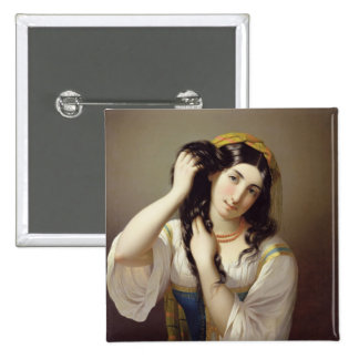 A Sicilian Playing with her Hair Pinback Button