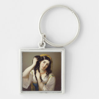 A Sicilian Playing with her Hair Silver-Colored Square Keychain