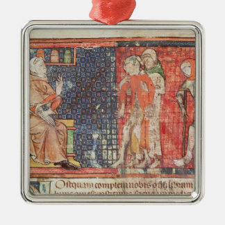 A sick man and a crippled man presented to square metal christmas ornament