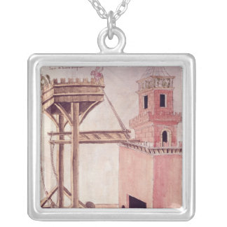 A siege machine silver plated necklace