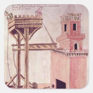 A siege machine square sticker