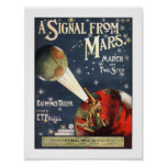 A Signal from Mars Sheet Music Vintage Poster
