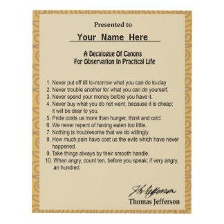 A Signed Thomas Jefferson Decalogue Of Advice Panel Wall Art