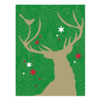 A silhouette of a deer with stars hanging from its postcard
