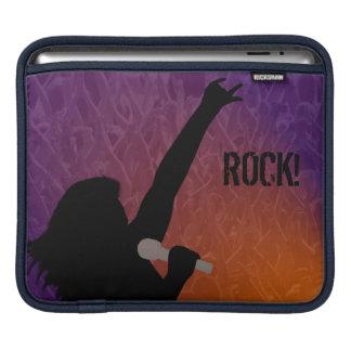 A silhouette of a rock  singer, purple orange back iPad sleeve