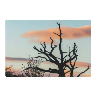 A silhouette place mat of a tree in lanchester