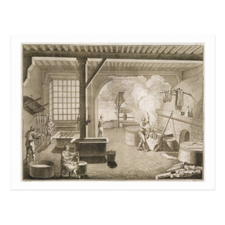 A silk dyer's workshop, from the 'Encyclopedie des Postcard