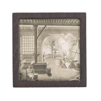A silk dyer's workshop, from the 'Encyclopedie des Premium Keepsake Box