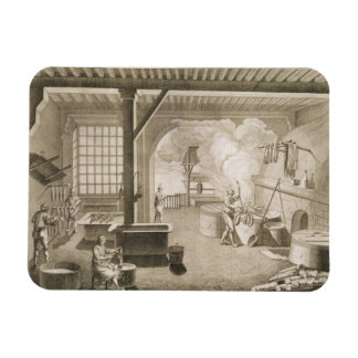 A silk dyer's workshop, from the 'Encyclopedie des Rectangular Photo Magnet