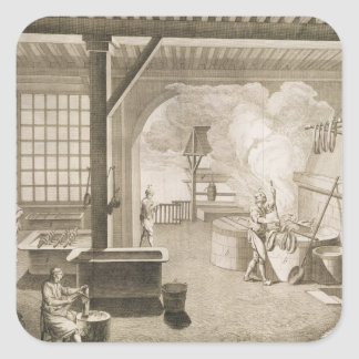A silk dyer's workshop, from the 'Encyclopedie des Square Sticker