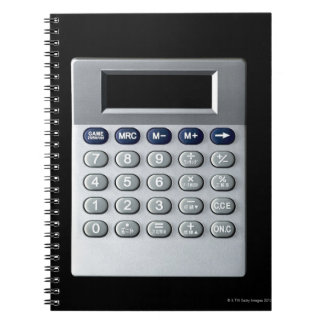 A silver calculator notebook
