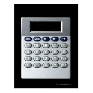 A silver calculator postcard