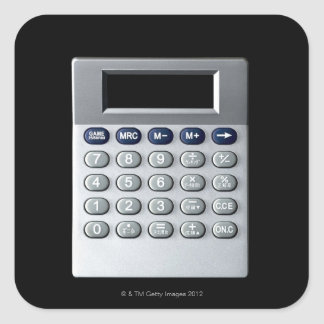 A silver calculator square sticker