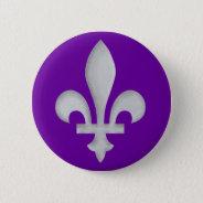 A Silver Fleur-de-lys Badge Button at Zazzle