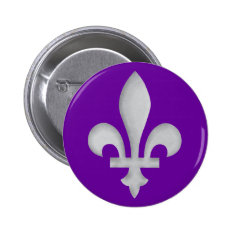 A Silver Fleur-de-lys Badge Button at Zazzle