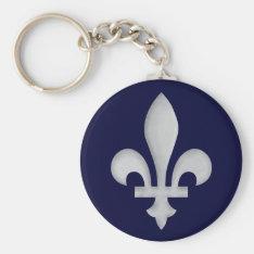 A Silver Fleur-de-lys Keychain at Zazzle
