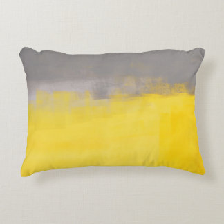 'A Simple Abstract' Grey and Yellow Art Pillow Accent Pillow