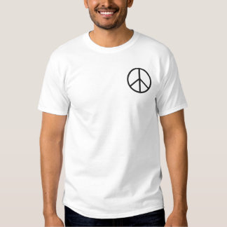 A Simple Black Peace Symbol Embroidered T-shirt