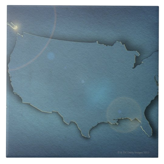 A simple blue map of the USA showing Alaska and Ceramic Tile