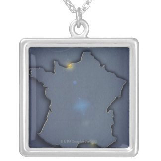 A simple blue map showing the of the outline of square pendant necklace