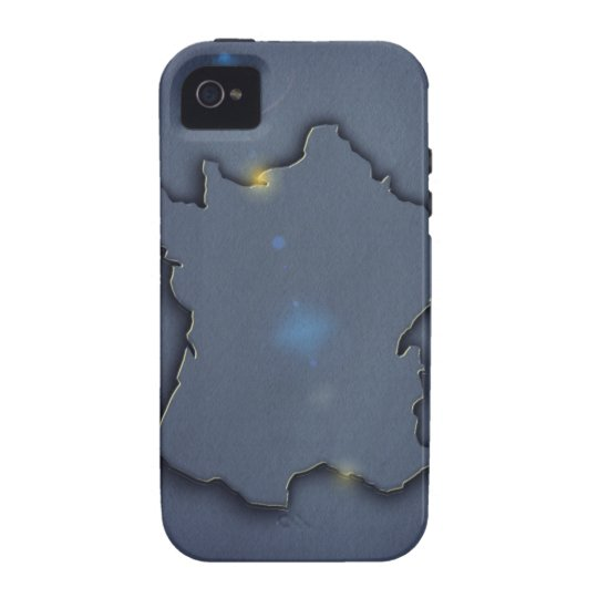 A simple blue map showing the of the outline of vibe iPhone 4 case