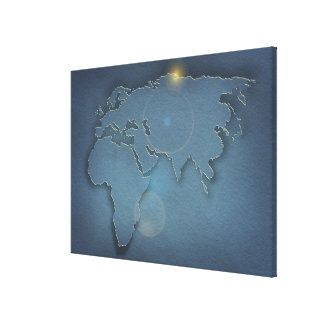 A simple blue map showing three continents - canvas print