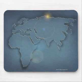 A simple blue map showing three continents - mouse pad