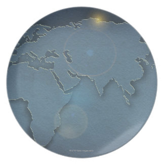 A simple blue map showing three continents - dinner plates