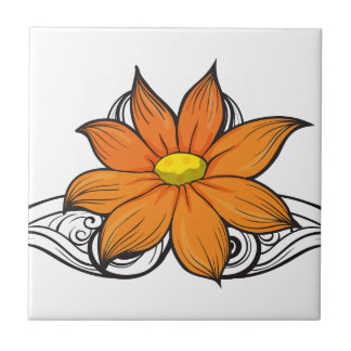 A simple flower border small square tile