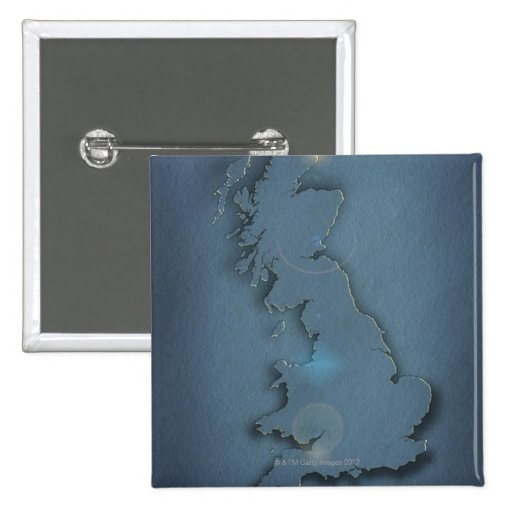 A simple map of the British Isles with sunset Pinback Button
