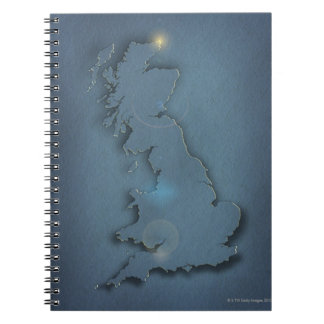 A simple map of the British Isles with sunset Notebook