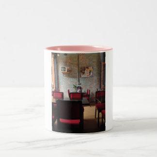 A simple, sweet cafe. Two-Tone coffee mug