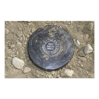 A simulated land mine photo print