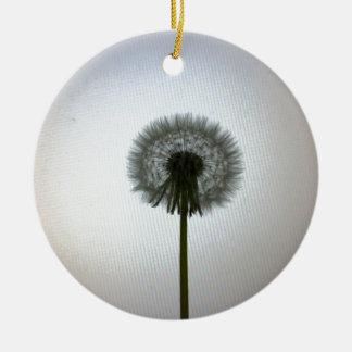 A Single Dandelion Against a White Backdrop Ceramic Ornament