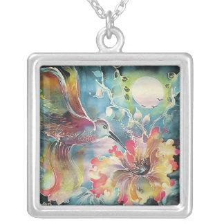 A Single Hummingbird Square Pendant Necklace