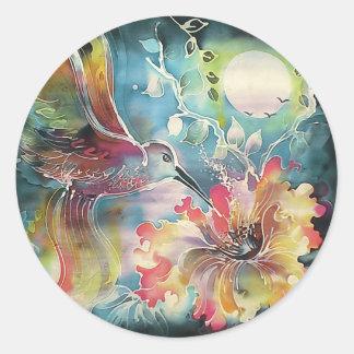 A Single Hummingbird Round Stickers