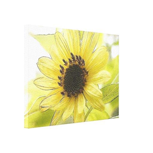 A Single Lemon Yellow Sunflower Gallery Wrap Canvas